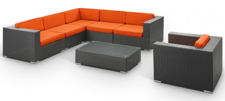 Corona Outdoor Rattan 7 Piece Set in Espresso with Orange Cushions