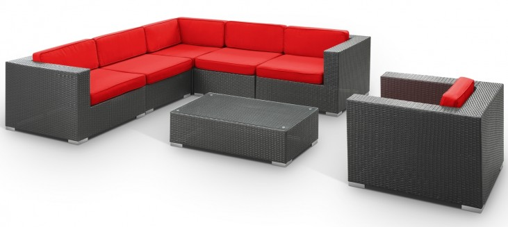 Corona Outdoor Rattan 7 Piece Set in Espresso with Red Cushions