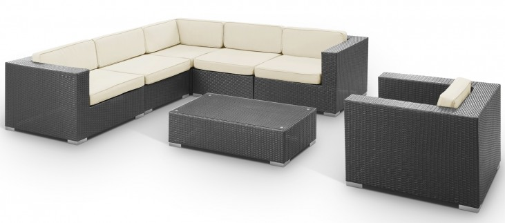 Corona Outdoor Rattan 7 Piece Set in Espresso with White Cushions