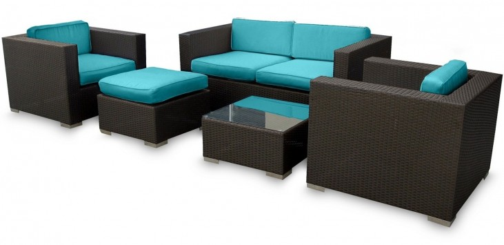 Malibu Outdoor Rattan 5 Piece Set In Espresso with Turquoise Cushions