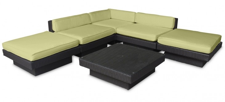 Laguna Outdoor Rattan 6 Piece Set In Espresso with Peridot Cushions