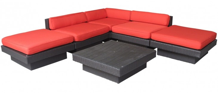 Laguna Outdoor Rattan 6 Piece Set In Espresso with Red Cushions