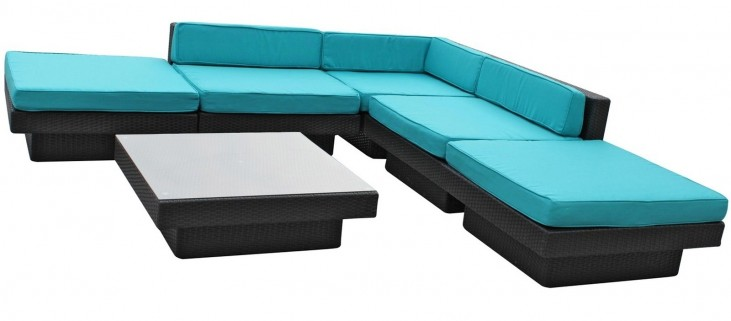 Laguna Outdoor Rattan 6 Piece Set In Espresso with Turquoise Cushions