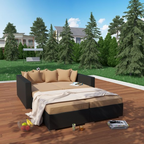 Palisades Espresso Mocha 4 Piece Outdoor Patio Daybed