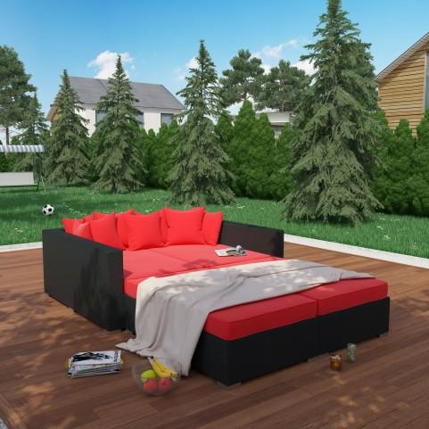 Palisades Espresso Red 4 Piece Outdoor Patio Daybed