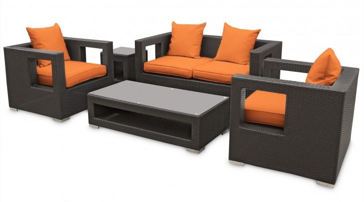 Lunar Outdoor Rattan 5 Piece Set in Espresso with Orange Cushions