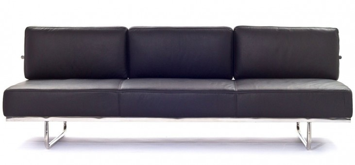 Le Corbusier LC5 Sofa in Genuine Black Leather & Leather Match