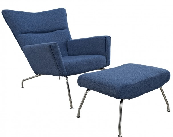 First Class Chair & Ottoman in Blue Tweed