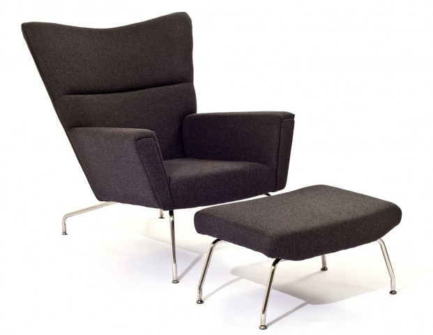 First Class Chair & Ottoman in Dark Gray