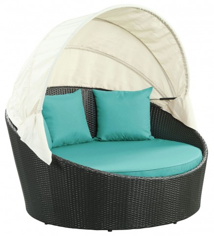 Siesta Espresso Turquoise Canopy Outdoor Patio Daybed