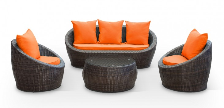 Avo Outdoor Rattan 4 Piece Set in Brown with Orange Cushions