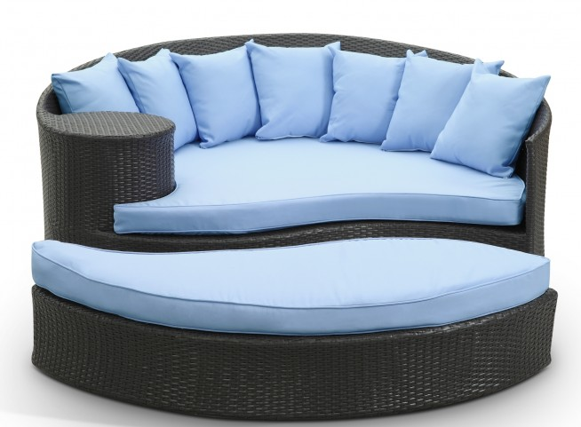 Taiji Espresso Outdoor Rattan Daybed W/ Ottoman & Light Blue Cushions
