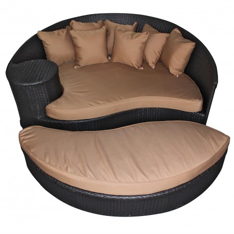 Taiji Espresso Outdoor Rattan Daybed with Ottoman with Mocha Cushions