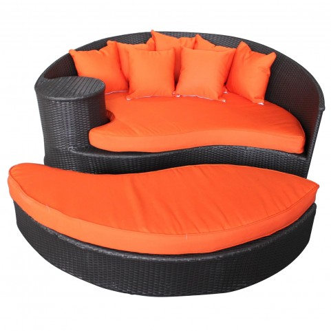 Taiji Espresso Outdoor Rattan Daybed with Ottoman with Orange Cushions