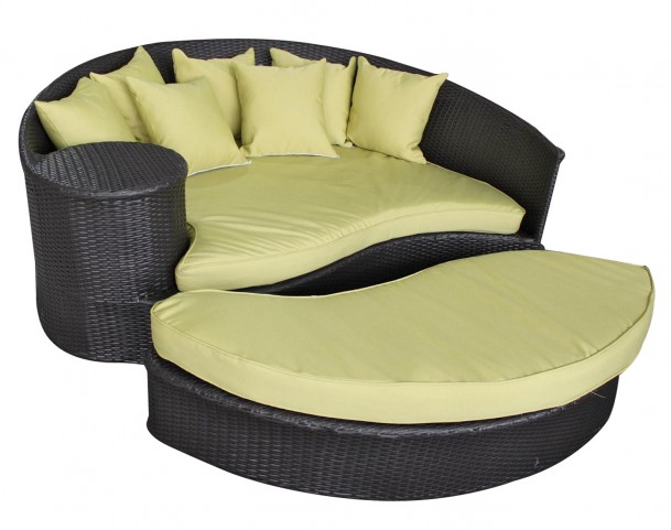 Taiji Expresso Outdoor Rattan Daybed with Ottoman with Peridot Cushions