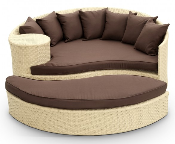Taiji Outdoor Rattan Daybed with Ottoman in Tan with Brown Cushions