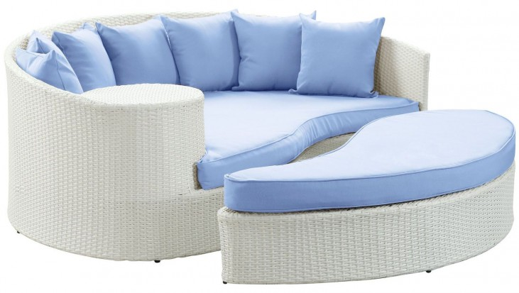 Taiji White and Light Blue Outdoor Patio Daybed
