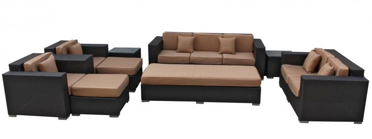 Eclipse Outdoor Rattan 9 Piece Set in Espresso with Mocha Cushions