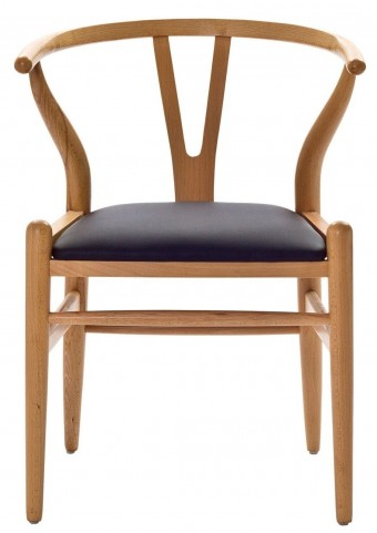 Amish Chair with Black Leatherette Seat