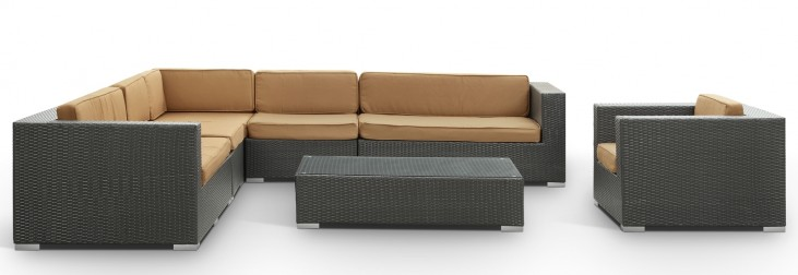 Palm Springs Outdoor Rattan 7 Pc Set in Espresso with Mocha Cushions