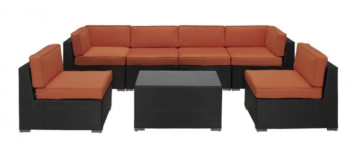 Aero Outdoor Rattan 7 Piece Set in Espresso with Orange Cushions