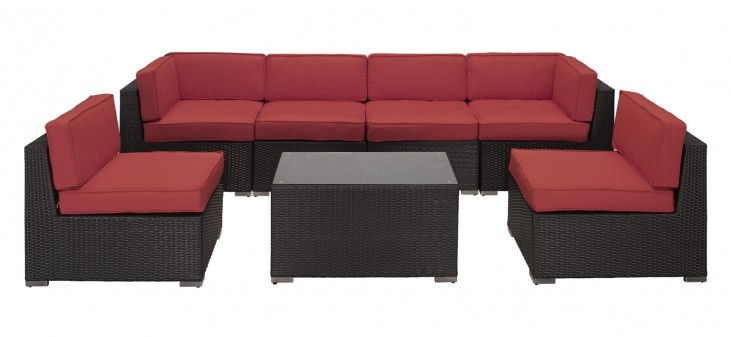 Aero Outdoor Rattan 7 Piece Set in Espresso with Red Cushions