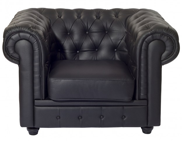 Chesterfield Black Bonded Leather Armchair