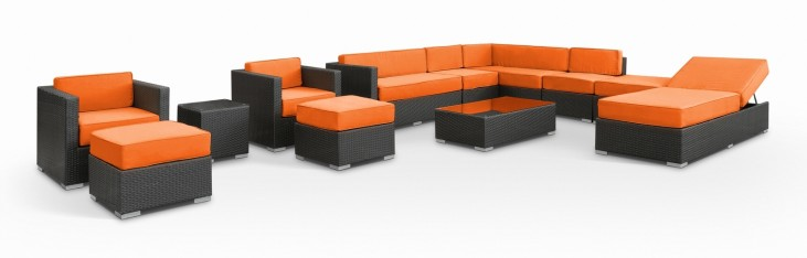 Fusion Outdoor Rattan 12 Piece Set in Espresso with Orange Cushions