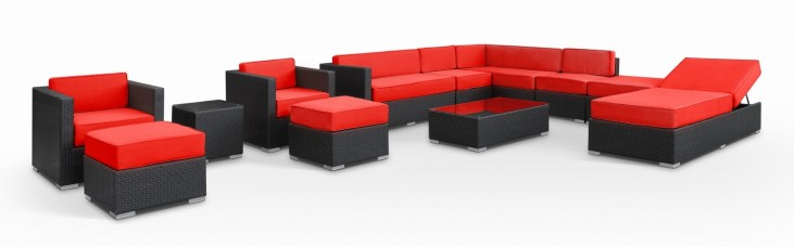 Fusion Outdoor Rattan 12 Piece Set in Espresso with Red Cushions