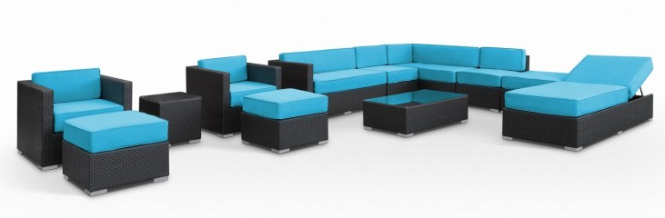 Fusion Outdoor Rattan 12 Piece Set in Espresso W/Turquoise Cushions