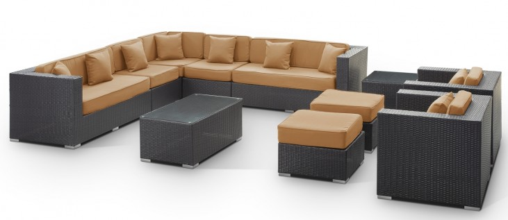 Cohesion Outdoor Rattan 11 Piece Set in Espresso with Mocha Cushions