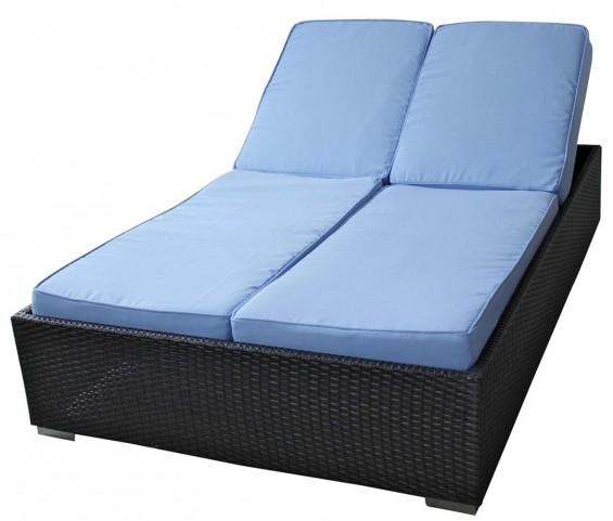 Evince Espresso 2 Seat Outdoor Chaise Recliner W/ Light Blue Cushions