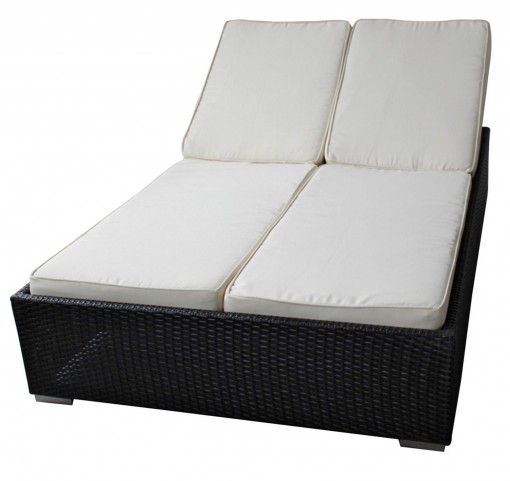 Evince Espresso 2-Seater Outdoor Chaise Recliner with White Cushions