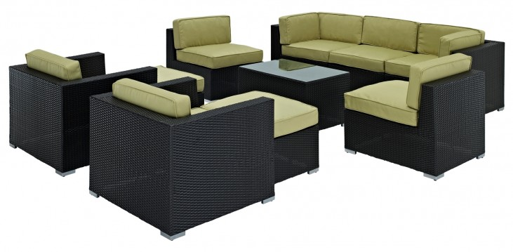 Avia Outdoor Rattan 10 Piece Set in Espresso with Peridot Cushions