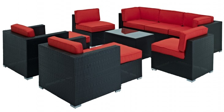 Avia Outdoor Rattan 10 Piece Set in Espresso with Red Cushions