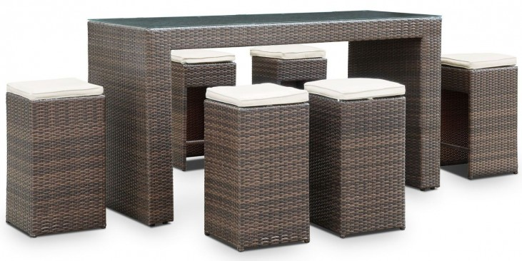 Cubed 7 Piece Brown and White Outdoor Patio Pub Set