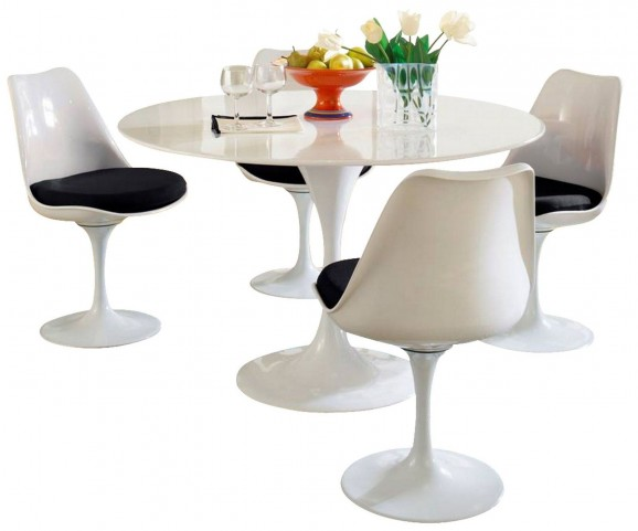 Lippa Black 5 Piece Fiberglass Dining Set