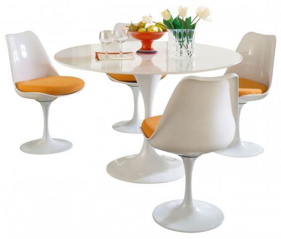 Lippa Orange 5 Piece Fiberglass Dining Set