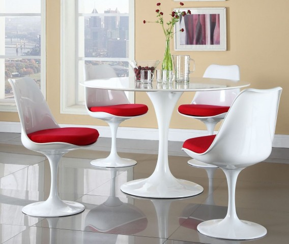Lippa Red 5 Piece Fiberglass Dining Set