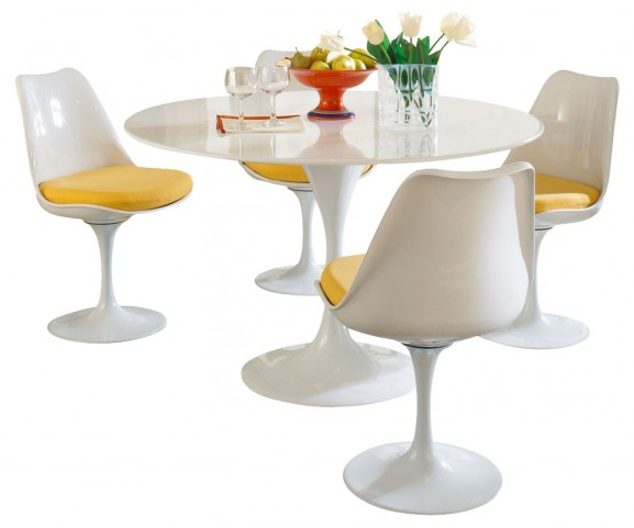 Lippa Yellow 5 Piece Fiberglass Dining Set