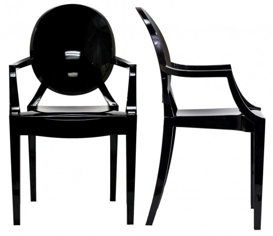 Casper Black Clear Dining Armchairs Set of 2