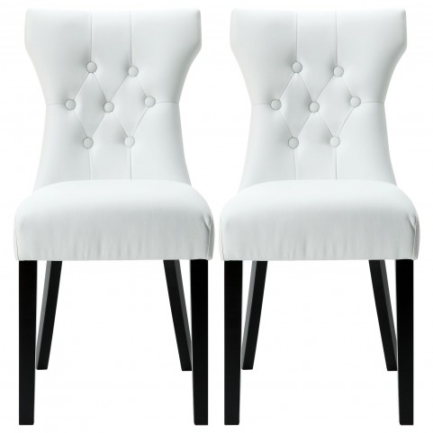 Silhouette White Dining Chairs Set of 2