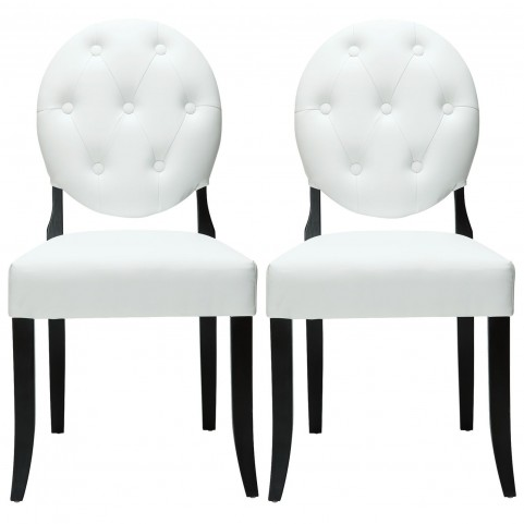 Button White Dining Chairs Set of 2