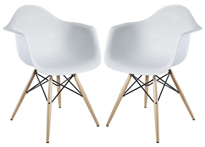 Pyramid White Dining Armchair Set of 2
