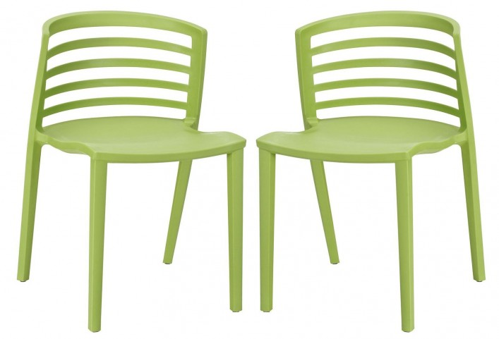 Curvy Green Dining Chairs Set of 2