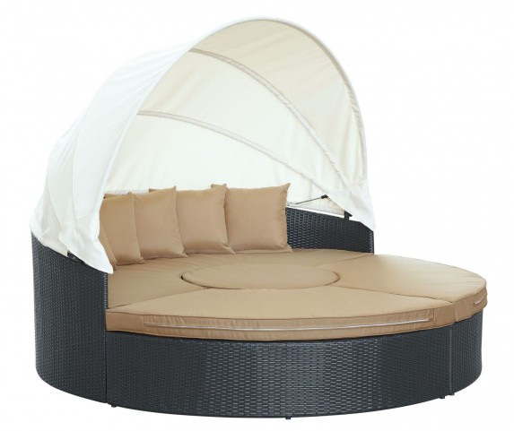 Quest Mocha Canopy Outdoor Patio Daybed