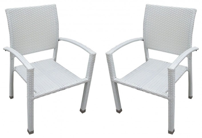 Bella White Dining Chair Outdoor Patio Set of 2