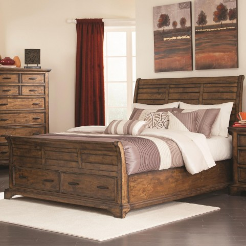 Elk Grove Vintage Bourbon Queen Storage Sleigh Bed