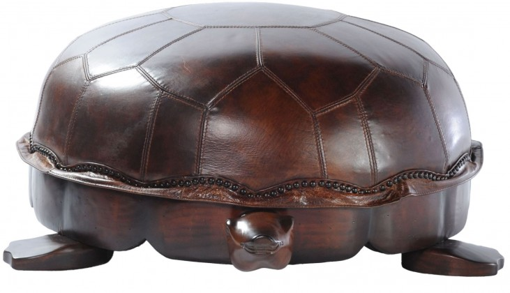 Franklin Snap Leather Large Turtle Ottoman