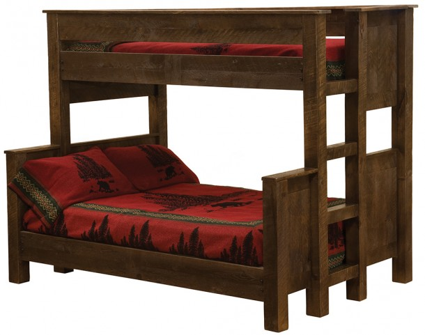 Frontier Barn Brown Twin/Twin Ladder Left Bunk Bed